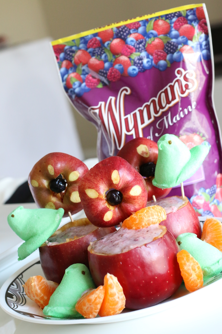 Easter Berry Smoothie in Apple Cups, Wyman's of Maine, Apple, Berries, Peeps marshmallow, shake, recipe