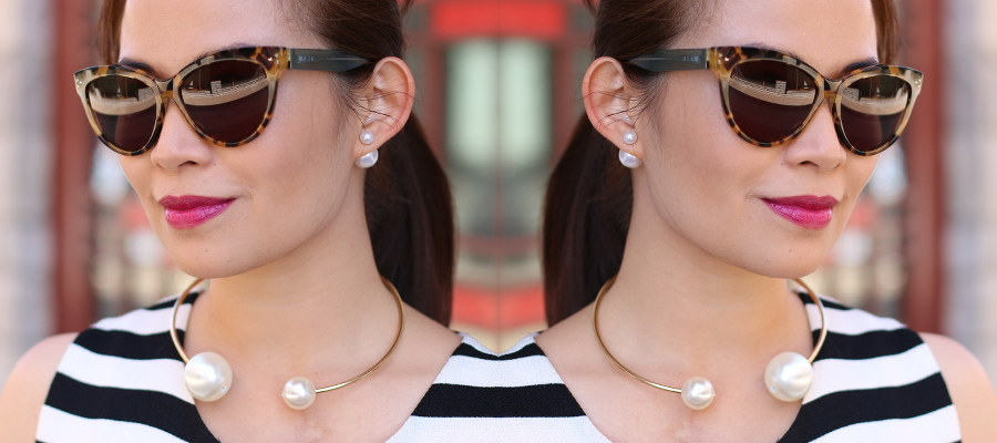 Double pearls accessories, outfit of the day, #ootd, fashion, style, myfashionjuice, fashion inspiration, cookbook, haze sunglasses, mac cosmetics lipstick in rebel