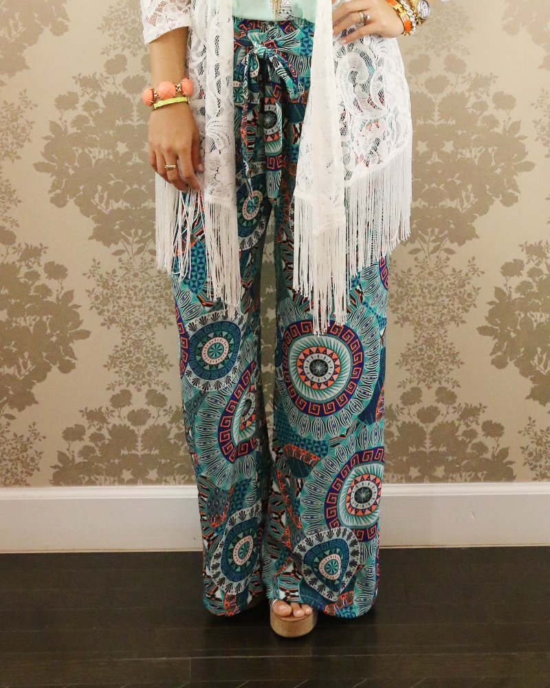 KatyDid Collection, Aztec Texas Tank top, palazzo pants, wide leg pants, Kendra Scott jewelry, Hermes bangle, Michael Kors bangle, boho, lace, kimono, fringe, #ootd, Dallas fashion blogger