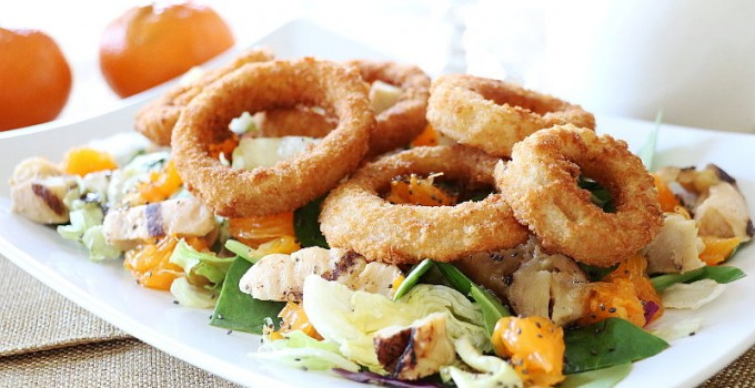 Grilled Chicken Onion Rings Asian Salad Recipe