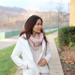 Old Navy Blush Holiday Outfit , white jacket, cable scarf, nude sweater dress